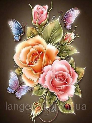 Вышивка алмазами розы