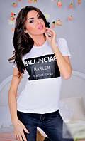 Черно-белая молодежная женская футболка с модным принтом х/б