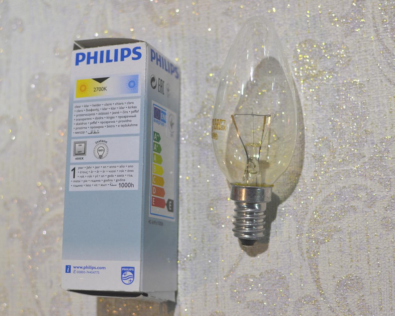 PHILIPS лампа накаливания, Е 14, 40W