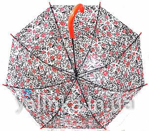"""Зонт подростковый """"Цветы"""" черно-красный, фото 2"""