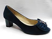 Туфли Erisses темно-синие замшевые, невысокий каблук, большие размеры.