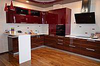 """Угловая кухня в современном стиле """"Вишнёвый джем"""" с шпонированным МДФ фасадом под дерево в вишневом цвете"""
