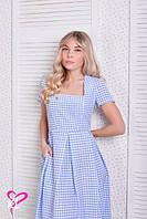 Нежное платье в пол в клеточку