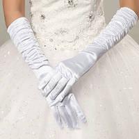 Перчатки белые длинные атласные с пальчиками