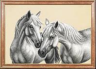 """Схема для вышивки бисером """"Белые лошади"""""""