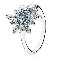 Кольцо блестящая снежинка из серебра 925 пробы pandora