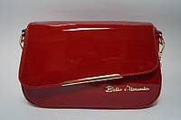 Красная лаковая небольшая женская сумочка , фото 1