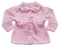 Ажурная кофточка для девочки, рост 62 см (розовый цвет)