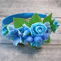 Обруч Нежные розы (голубые)