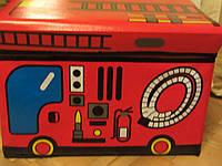"""Короб-пуф для игрушек """"Пожарная машина"""""""