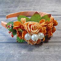 Обруч Нежные розы (персиковый), фото 1