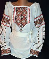 Вышитая блуза на домотканом полотне  до 54р