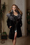 Шуба из  мутона с отделкой из финской чернобурки Mouton fur coat trimmed / decorated with Finnish silverfox, фото 2