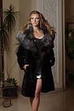 Шуба з мутону з обробкою з фінської чорнобурки Mouton fur coat trimmed / decorated with Finnish silverfox, фото 2