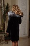 Шуба з мутону з обробкою з фінської чорнобурки Mouton fur coat trimmed / decorated with Finnish silverfox, фото 3