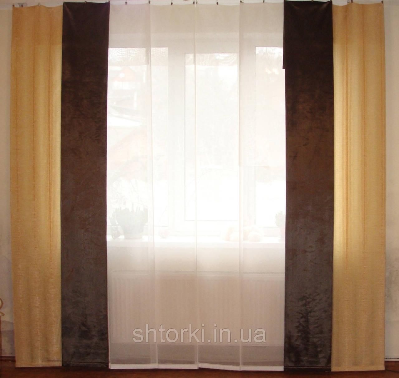 Комплект панельных шторок батист и плюш