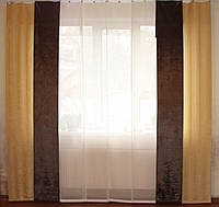 Комплект панельных шторок батист и плюш, фото 1