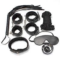 Набор БДСМ черного цвета из качественной искусственной кожи  8 предметов.