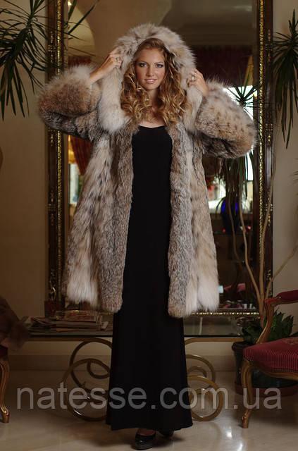 Шуба з канадської рисі hooded lynx fur coat