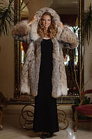 Шуба из рыси канадской Canadian lynx hooded fur coat fur-coat, length=95 cm