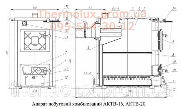 Схема котла Термобар АКТВ-16 с плитой