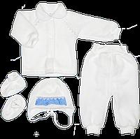 Костюм на выписку: кофточка, штанишки с открытой ножкой, шапочка, пинетки, флис, ТМ Little angel р.56