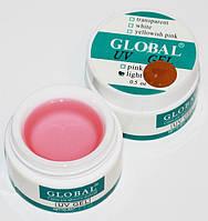 Global УФ Гель моделирующий прозрачно-розовый средней вязкости, 15 мл.
