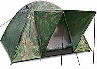Палатка четырех 4 местная двухслойная комуфляжная с козырьком туристическая рыбацкая намет военная