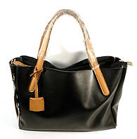 Кожаная женская сумка, саквояж 2 в 1 с клатчем Voee Vodd 043 черная с коричневыми ручками
