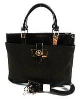 Сумка- портфель женская Shengkasilu 5312 черная лаковая с замшей