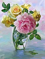 Картина-раскраска Турбо Букет с розовым пионом худ Бузин Игорь  30 х 40 см