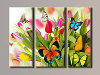 "Модульная картина на холсте ""Бабочки на розовых тюльпанах"""