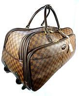 Дорожная сумка LOUIS VUITTON на колесах большая L , шашки, коричневая