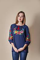 Жіноча вишита сорочка синього кольору із квітковим орнаментом «Діана»