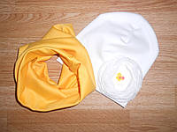 Весенний детский комплект шапка и хомут (жолтый) с цветком