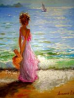 """Картина на холсте маслом """"У моря"""""""