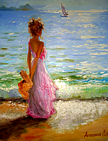 "Картина на холсте маслом ""У моря"", фото 1"