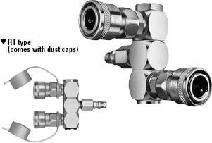 БРС Nitto Kohki Rotary Line CUPLA с делением потока и вращения на 360 град. для воздуха и газов