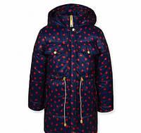 Куртка-парка для девочки в сердечки
