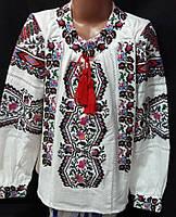 Вышитая блуза  для девочек на домотканом полотне с мережкой