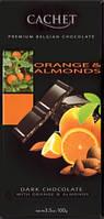 Черный  шоколад Сachet c апельсином и миндалем , 100 гр
