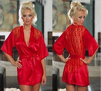 Женский халат пеньюар красный
