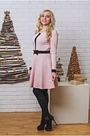 Платье короткое с бантом персик