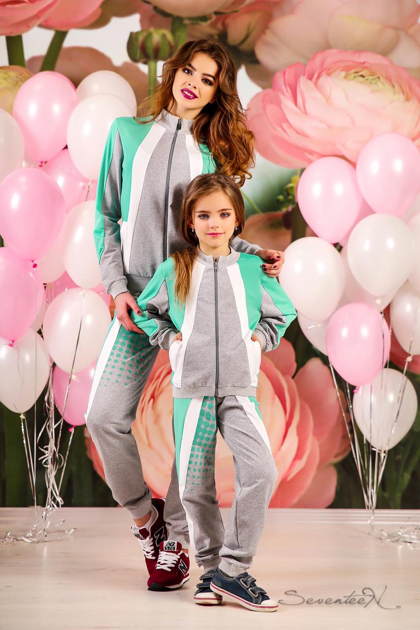 Модный детский спортивный костюм с кофтой на змейке и крутыми штанами с карманами, 116-134 размер, фото 1