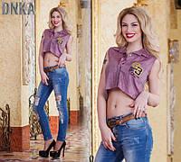 Рубашка Летняя Турецкая Кроп Топ 3 Кофточка Короткая Безрукавка