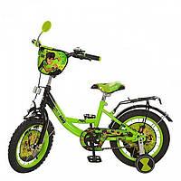 """Велосипед  детский зеленый 12"""" со страховочными колесами для мальчиков и для девочек Бэн 10"""