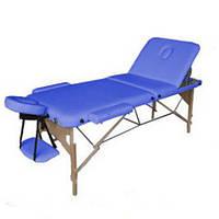 HouseFit Массажный стол 3-х секционный деревянная рама HouseFit (HY-30110B) синий