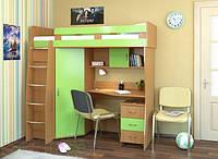 """Детская кровать чердак со столом и шкафом """"Каприз"""", ольха + лайм, фото 1"""