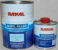 Автомобильный грунт RANAL S-2000 5 + 1 2К акриловый серый 1кг. + отвердитель 0,2 л.