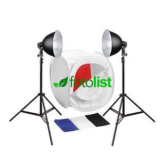Набор для предметной съемки Mircopro FL-102, 2x28w, 280 Вт, лайткуб 60х60х60см, 4 фона